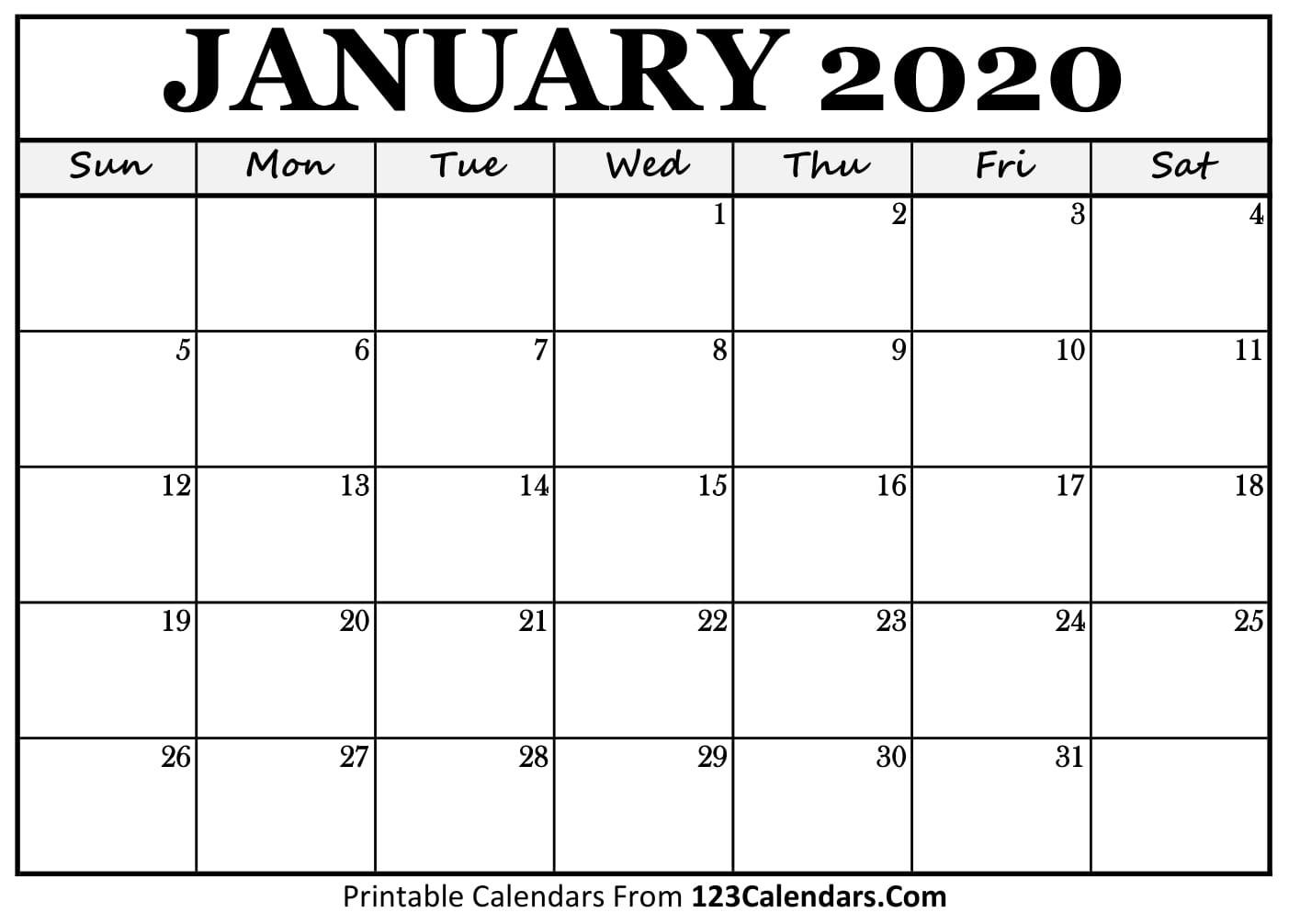 Free Printable Calendar | 123Calendars  Blank Calendar 2020 Printable Monthly