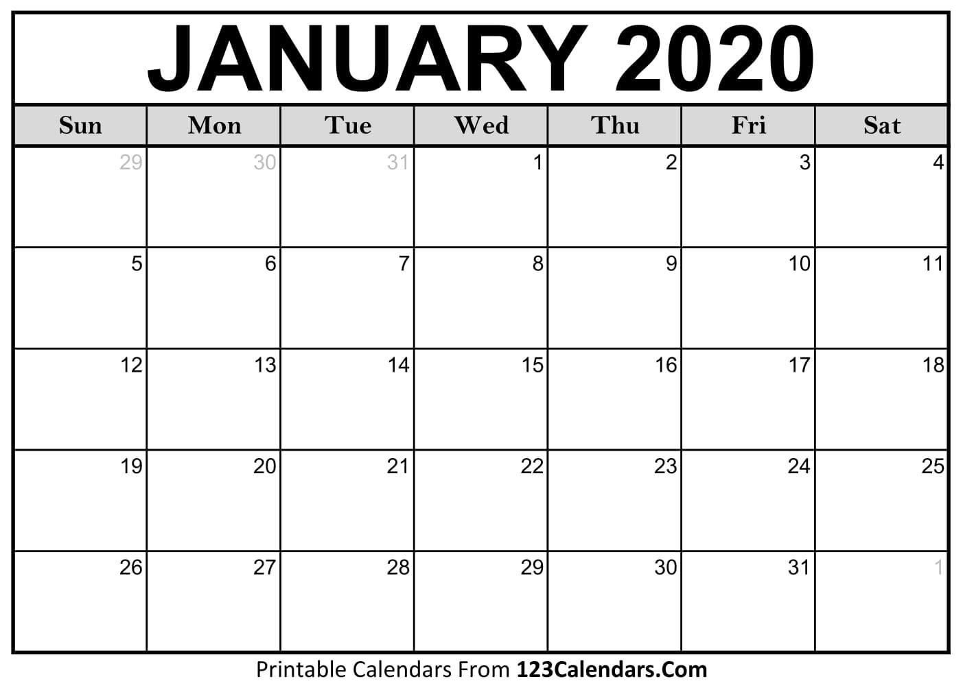 Free Printable Calendar | 123Calendars  Printable Calendar 2020