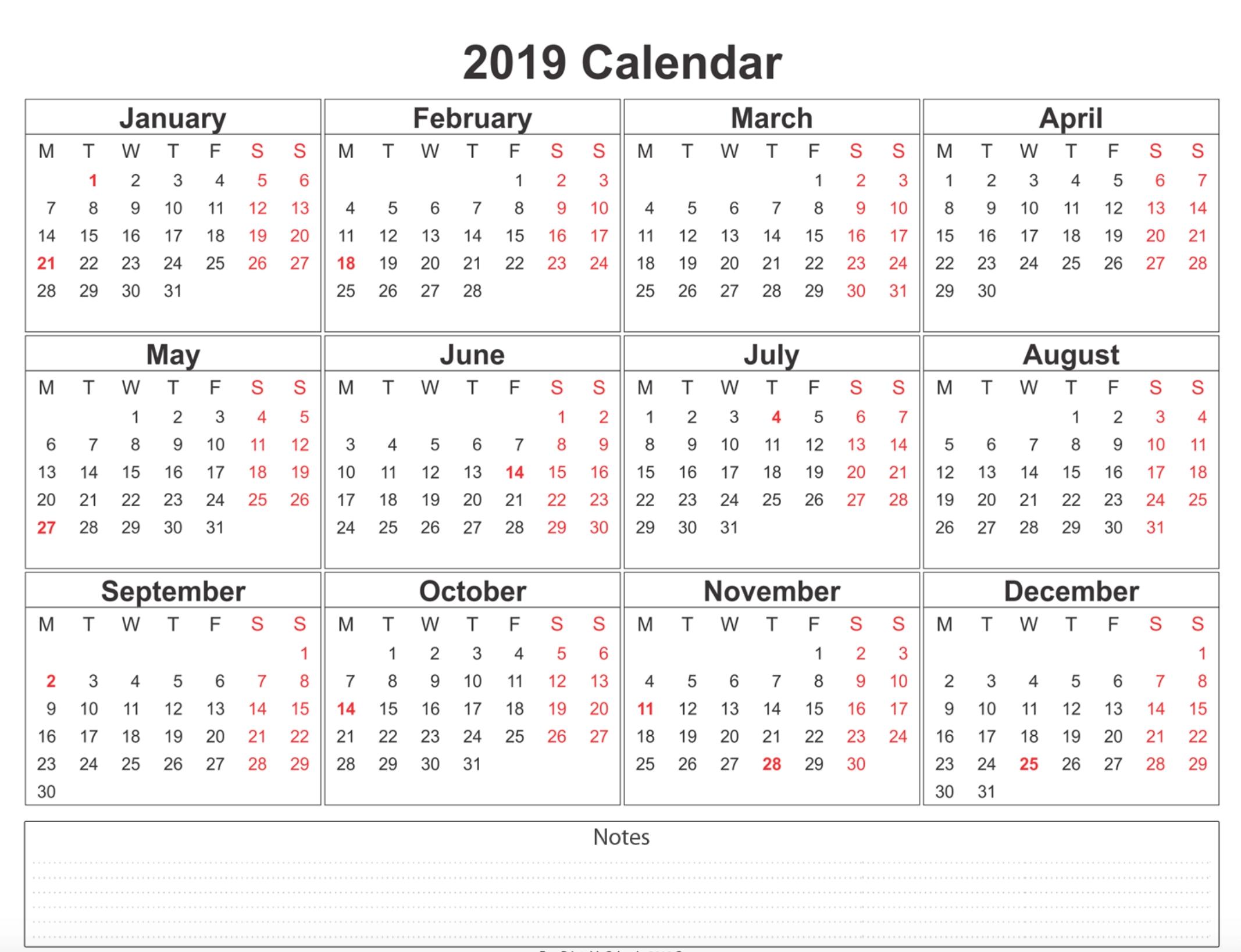 Free Printable Calendar 2019 | Weekly Calendar Printable  Free 12 Month Printable Calendars