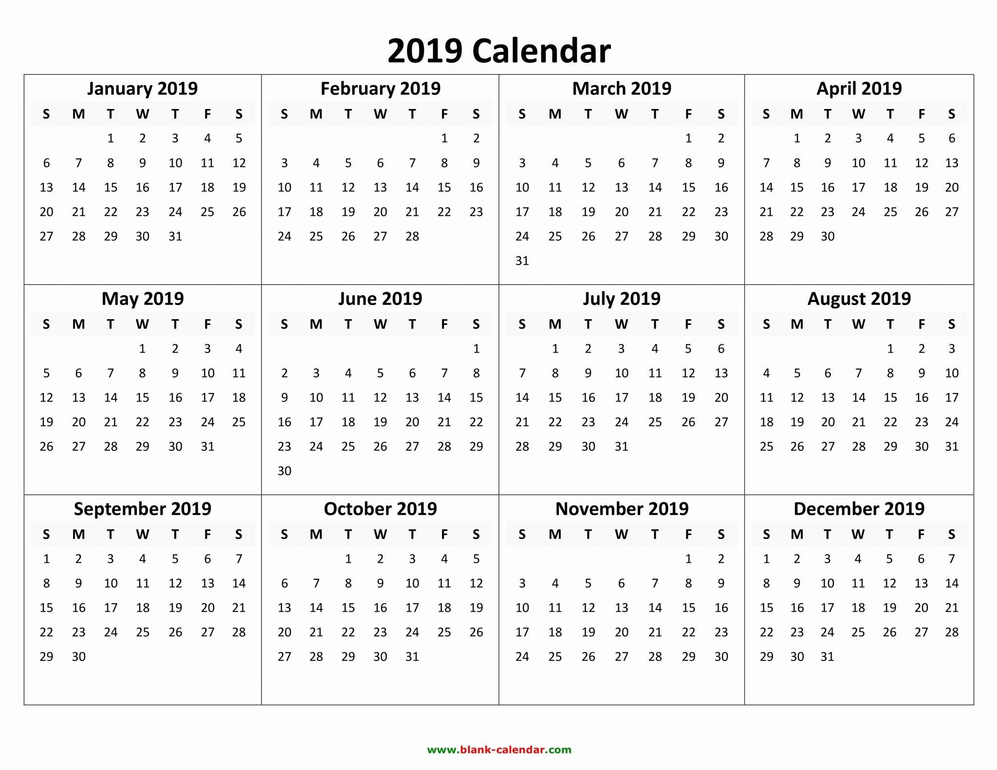 Free Printable Calendar 2019 With Holidays | Blank 12 Month  12 Month 2021 Printable Calendar Type On