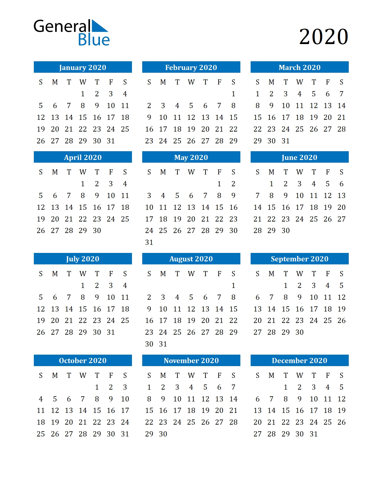 Free Printable Calendar In Pdf, Word And Excel  Yearly Calendars 2020