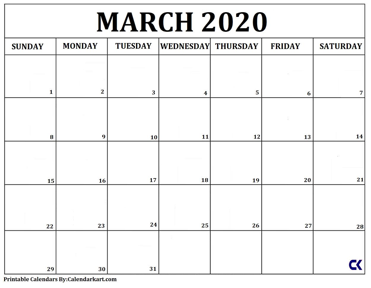Free Printable Calendar Templates 2020 » Calendarkart  Calendar Template 2020 Printable Free