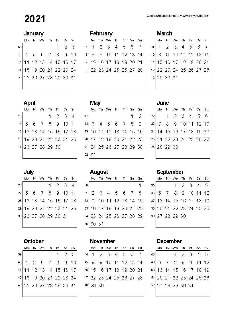 Free Printable Calendars And Planners 2020, 2021, 2022  12 Month 2021 Printable Calendar Type On