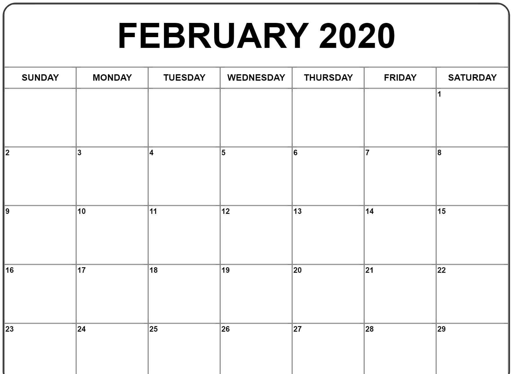Free Printable February 2020 Blank Calendar Templates  Printable February 2020 Calendar Page