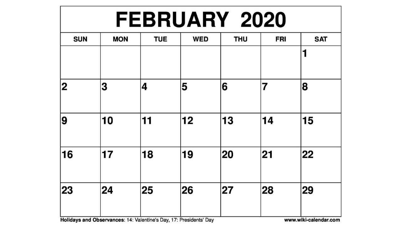 Free Printable February 2020 Calendar - Wiki-Calendar  Feb 2020 Calendar