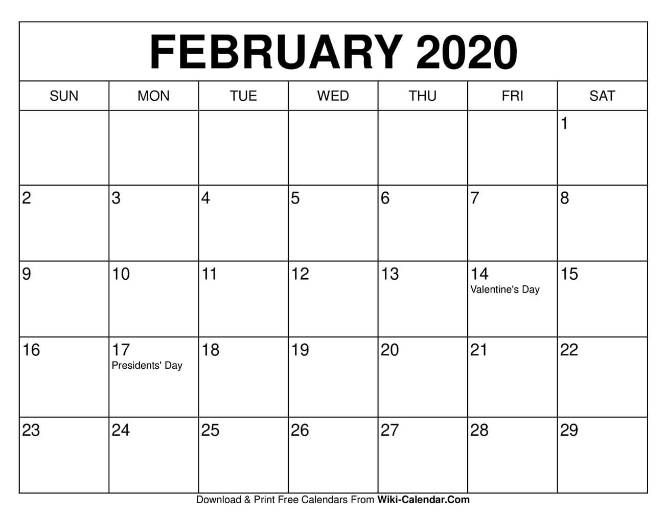 Free Printable February 2020 Calendars  Download 2020 Blank Calendar Printable