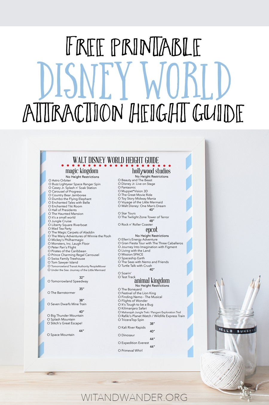 Free Printable Height Guide To Rides At Disney World - Our  List Of Disney World Attractions Excel