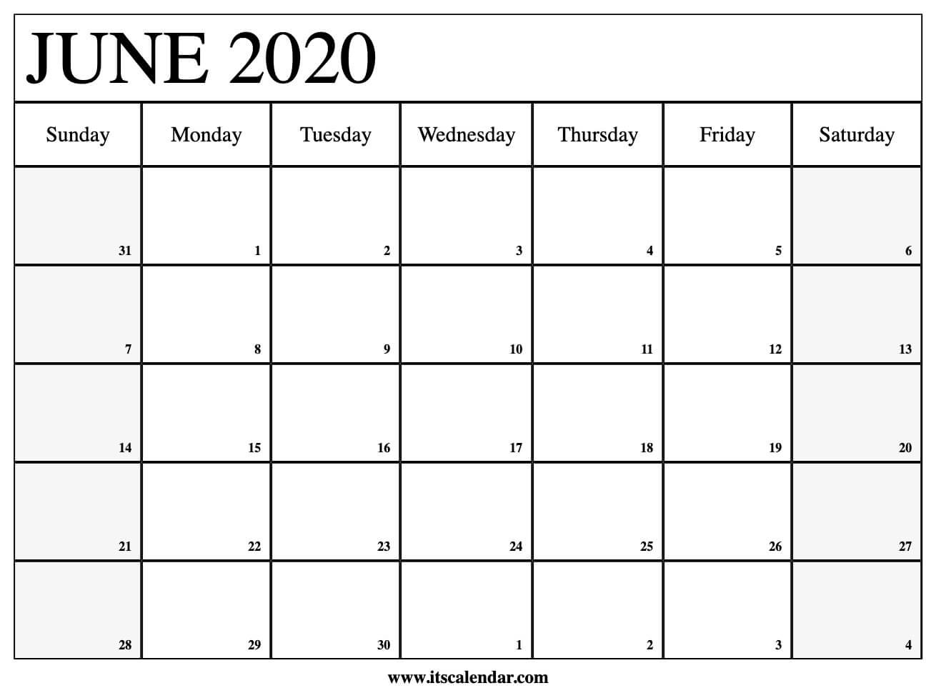 Free Printable June 2020 Calendar  Printable Methodist Calendar For 2020