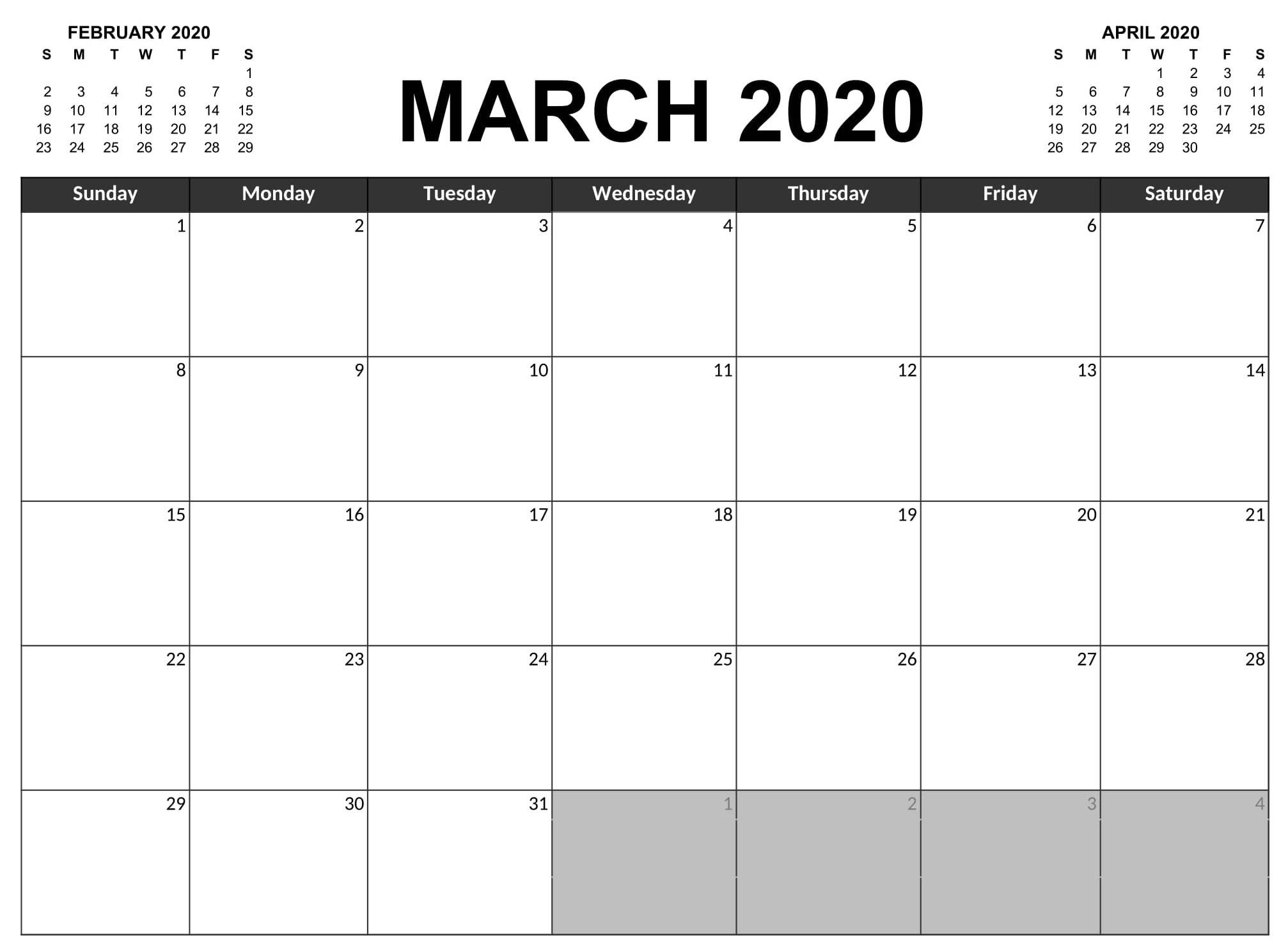 Free Printable March 2020 Calendar Blank Pages Full Size  Full Size Printable Calendar 2020