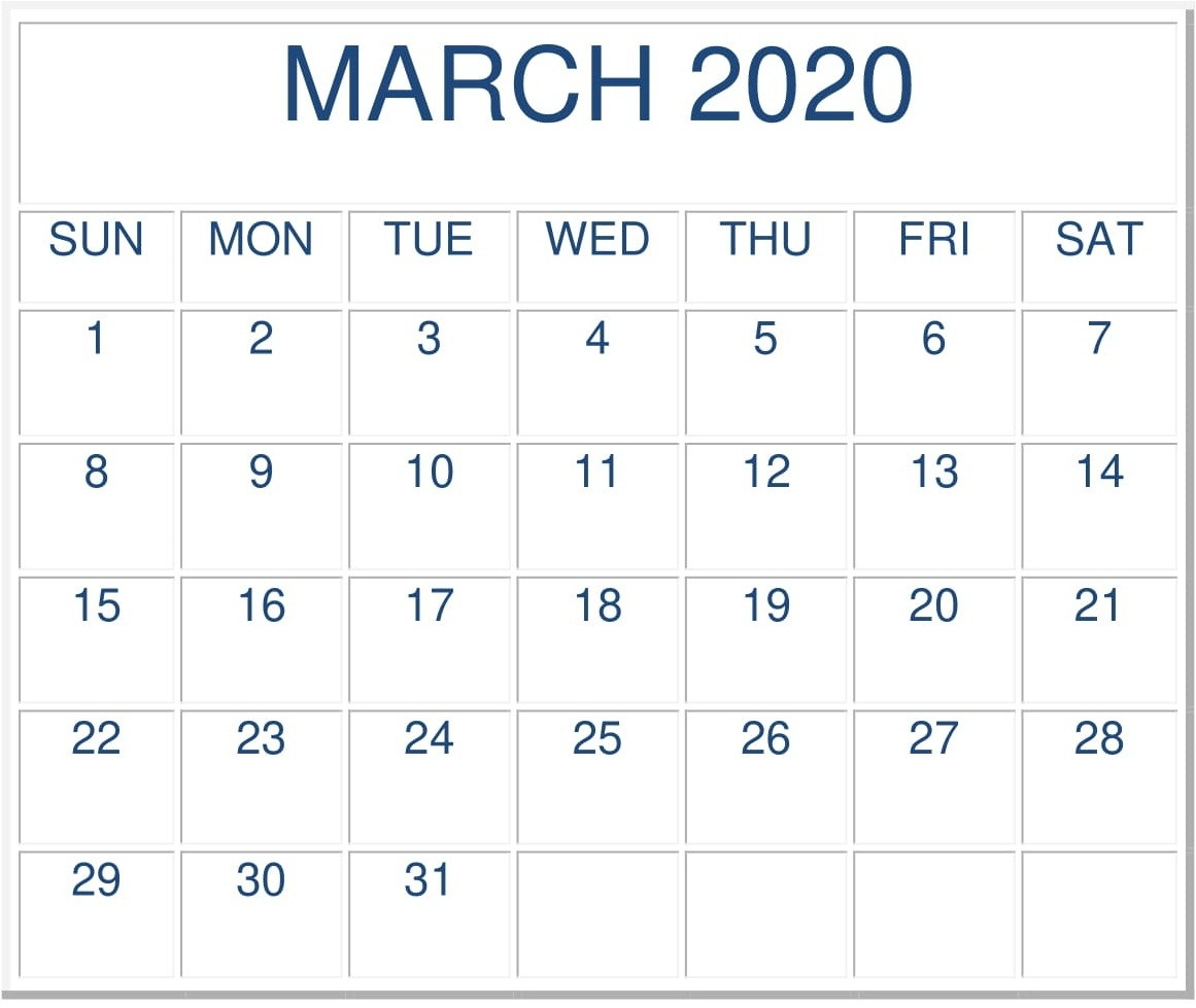 Free Printable March 2020 Calendarmonth - Latest  Free Printable Monthly Calendar March 2020