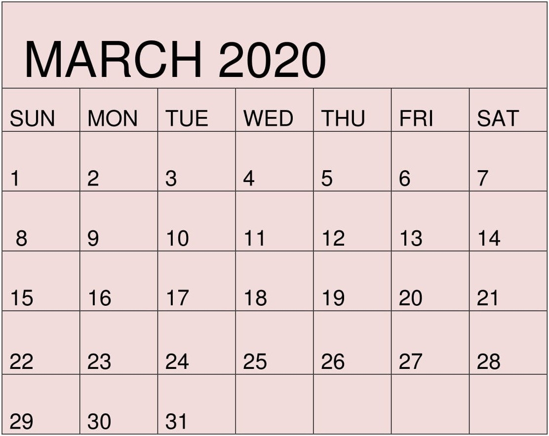 Free Printable March 2020 Calendarmonth Template – Free  2020 Calendar Free Printable
