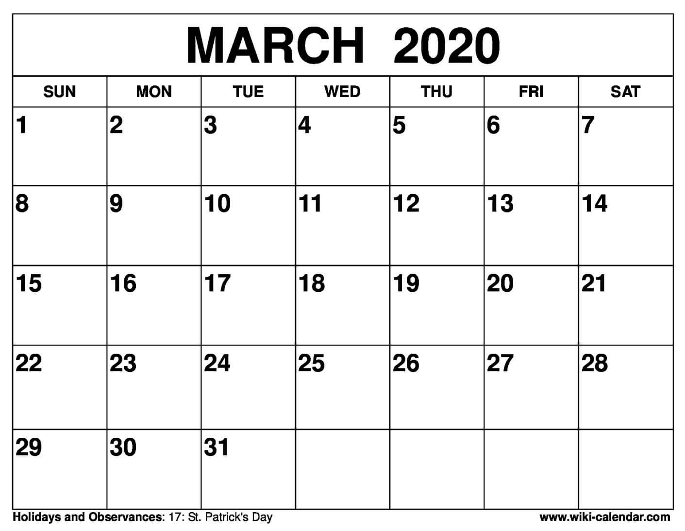 Free Printable March 2020 Calendars  Printable March 2020 Calendar Pdf