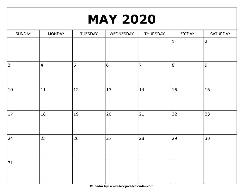Free Printable May 2020 Calendar  Printable Methodist Calendar For 2020