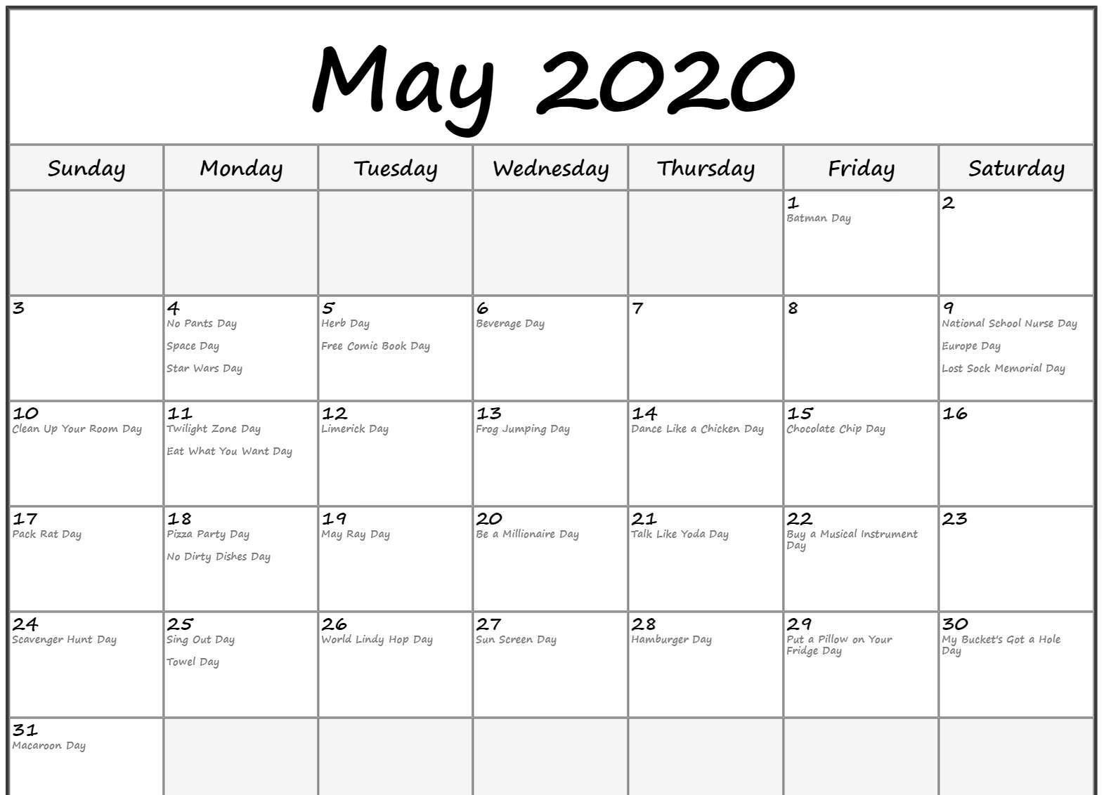 Free Printable May 2020 Calendar With Holidays Templates In  May 2020 Calendar