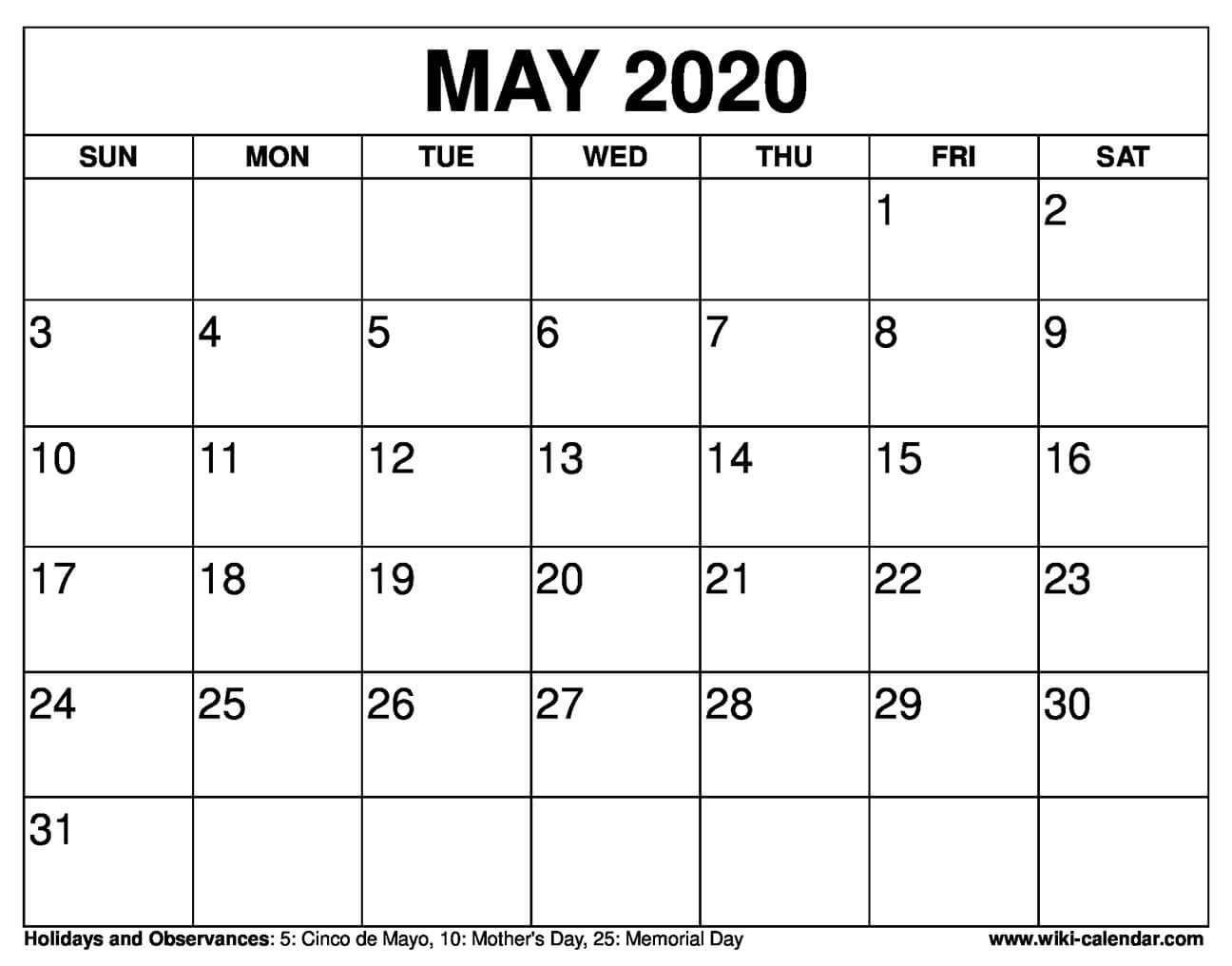 Free Printable May 2020 Calendars  Print Free Calendars Without Downloading