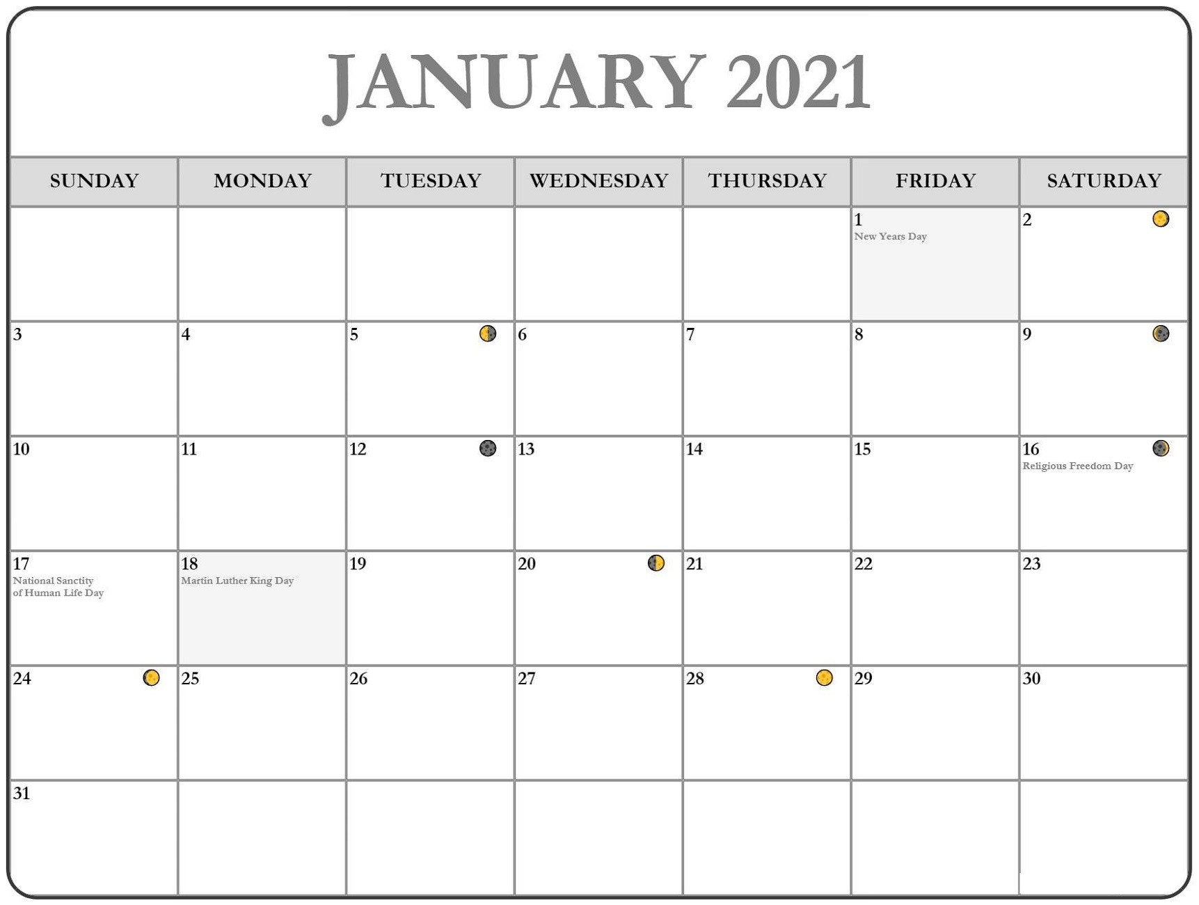 Free Printable Monthly Calendar 2021 Monthly | Calendar Shelter  2021 Printable Calendar By Month