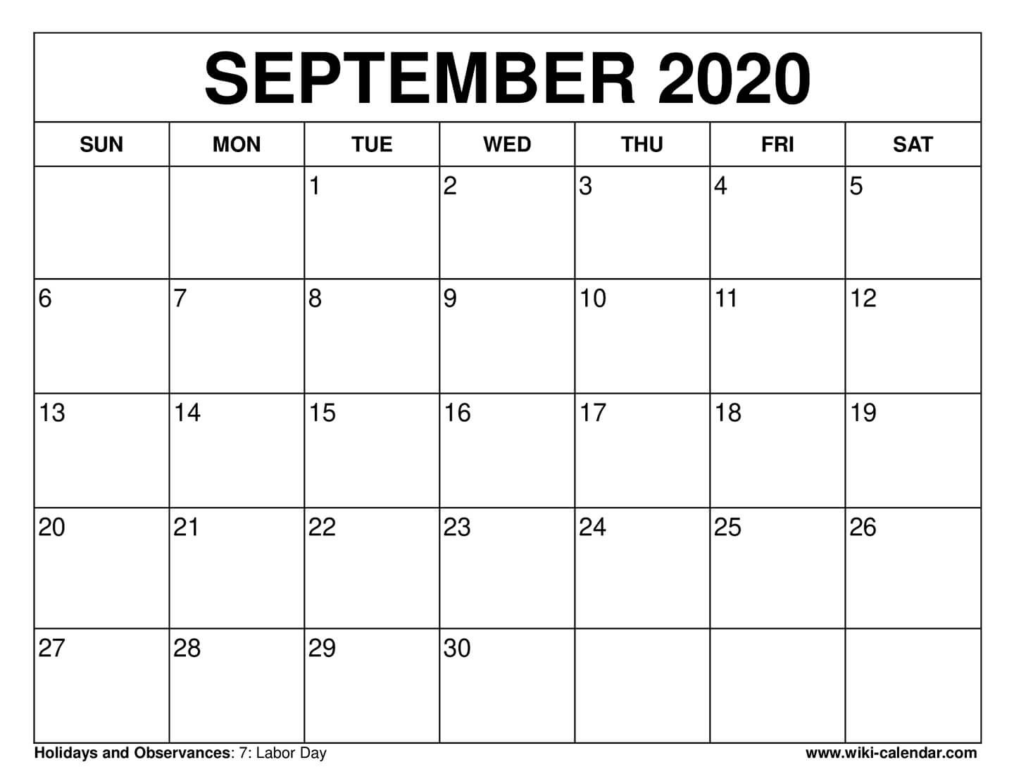 Free Printable September 2020 Calendars  2020 Calendar September To November