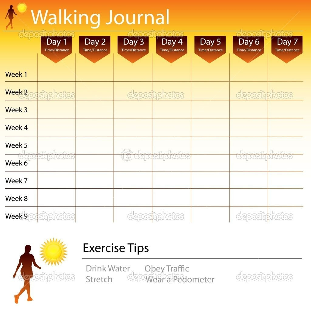 Free Printable Walking Log Chart | Walking Journal Chart  Fitness Challenge Tracker Templates