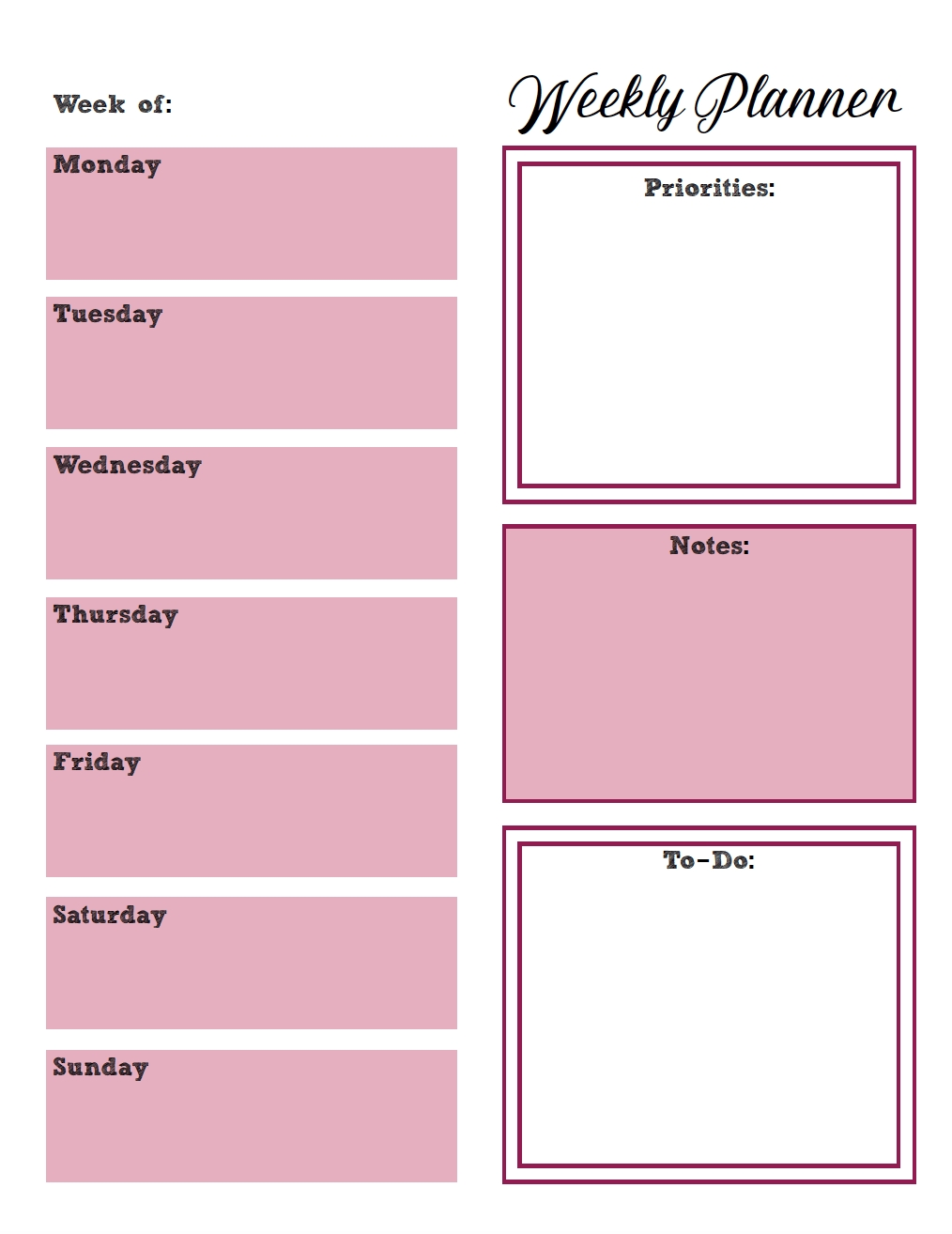 Free Printable Weekly Planners: Monday Start  Printable Monday To Sunday Weekly Planner