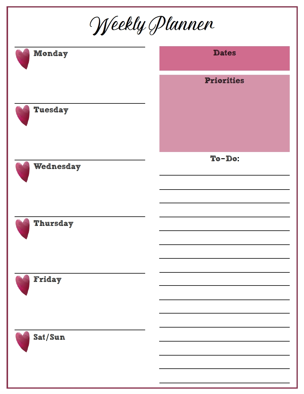 Free Printable Weekly Planners: Monday Start | Weekly  Printable Monday To Sunday Weekly Planner