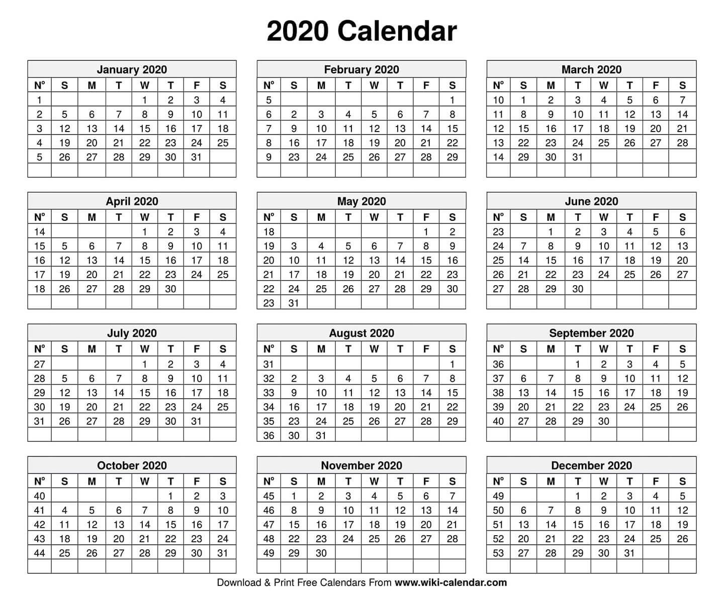 Free Printable Year 2020 Calendar  2020 Calendar With Holidays Printable One Page