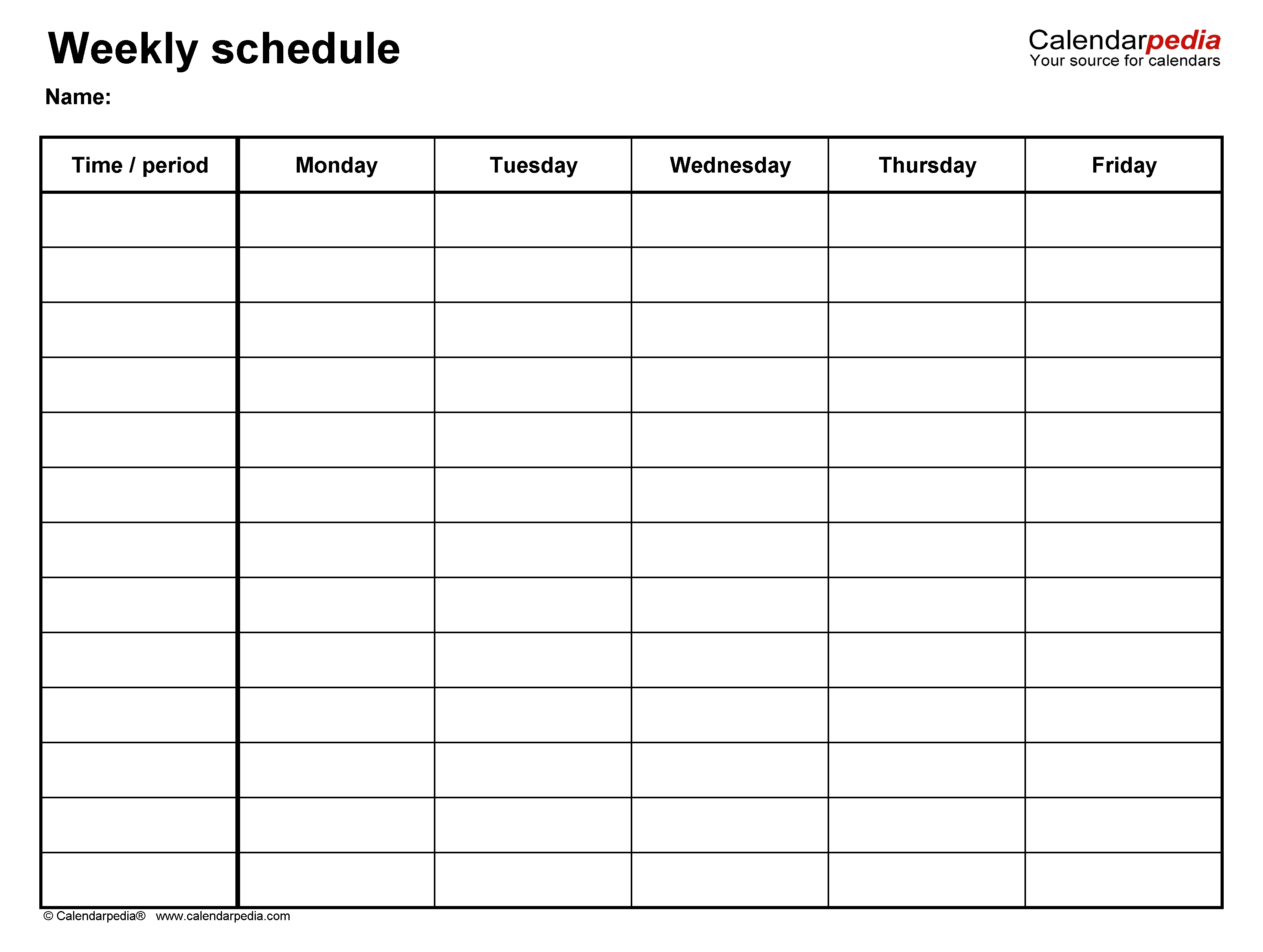 Free Weekly Schedule Templates For Excel - 18 Templates  Business Monday To Friday Daily Planner