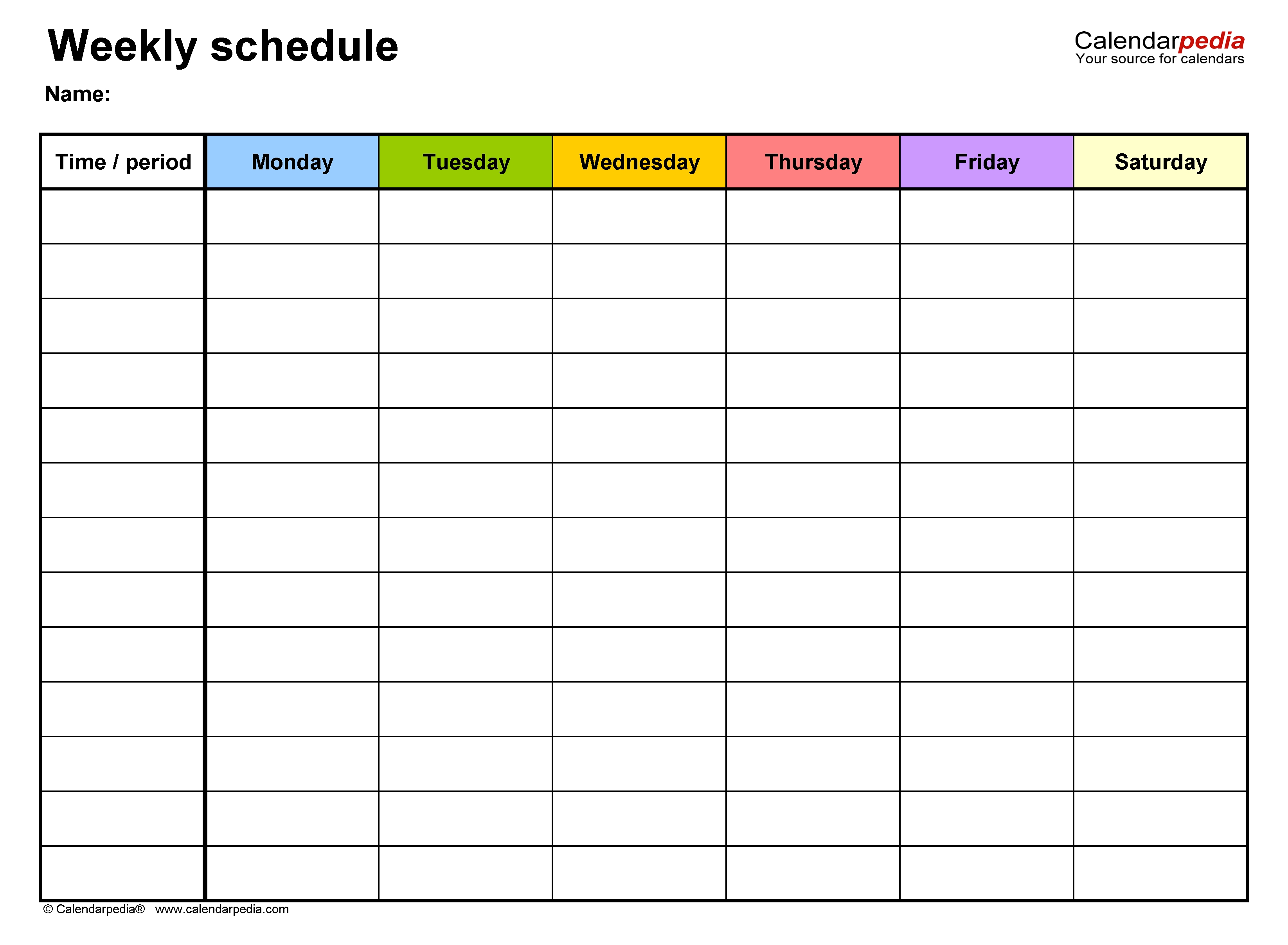 Free Weekly Schedule Templates For Excel - 18 Templates  Calendar With 6 Day Weeks