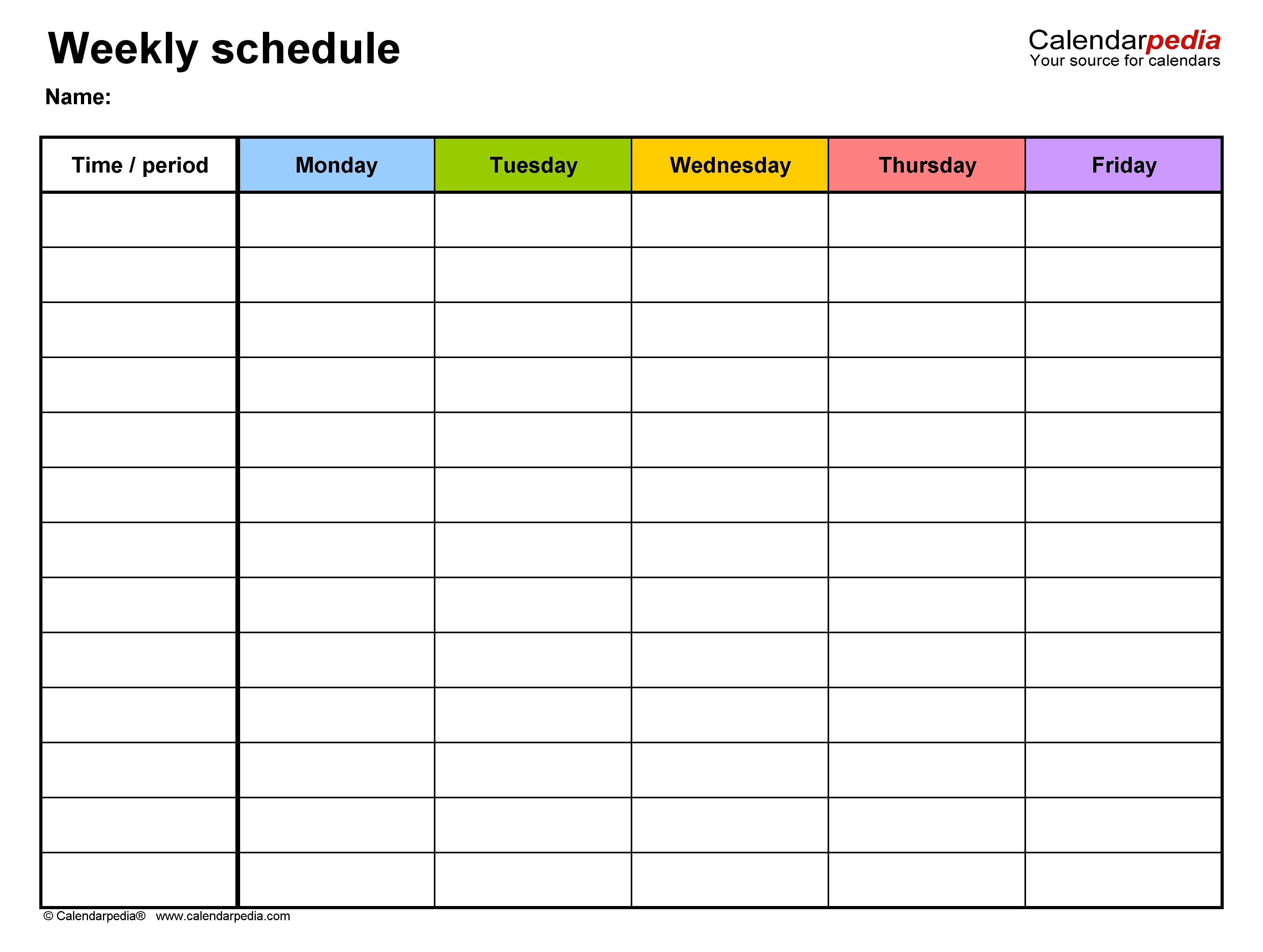 Free Weekly Schedule Templates For Excel - 18 Templates  Calendar With Times