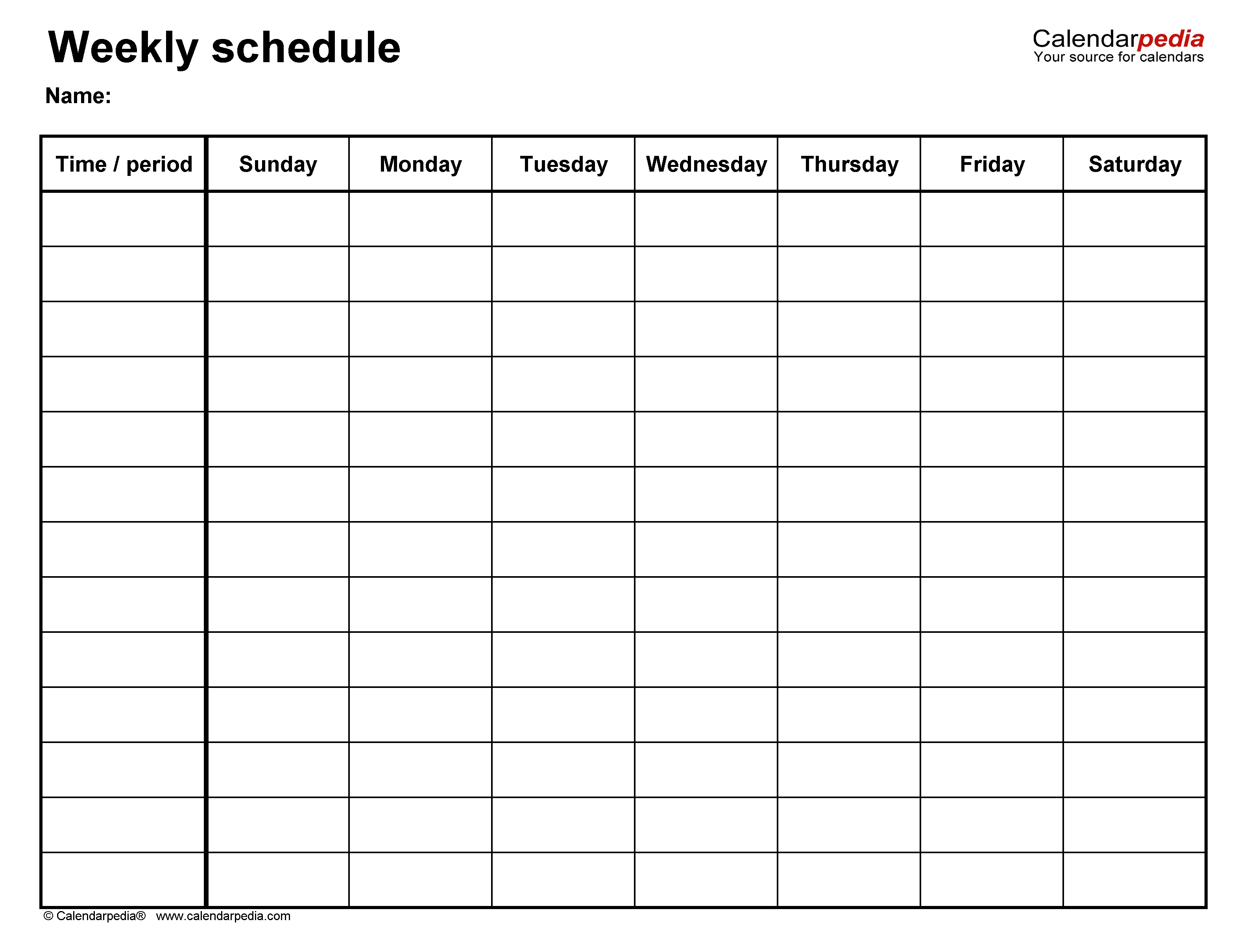 Free Weekly Schedule Templates For Word - 18 Templates  7 Day Weekly Chart Printable