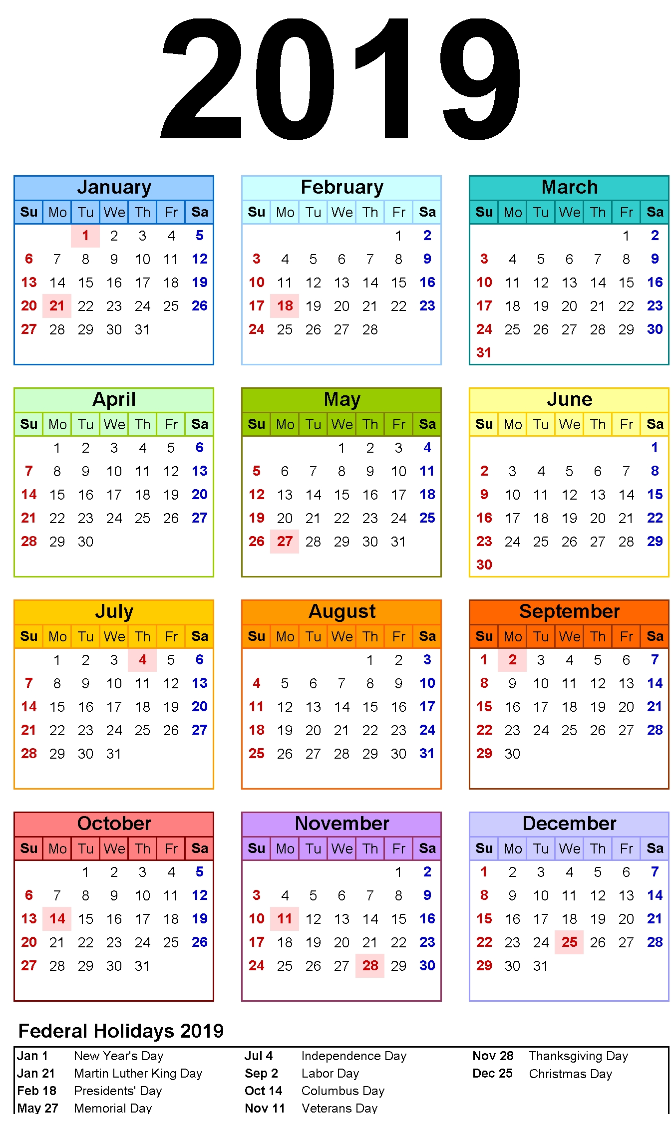 Free Yearly 12 Month Calendar One Page Template Printable  3 Month On One Page