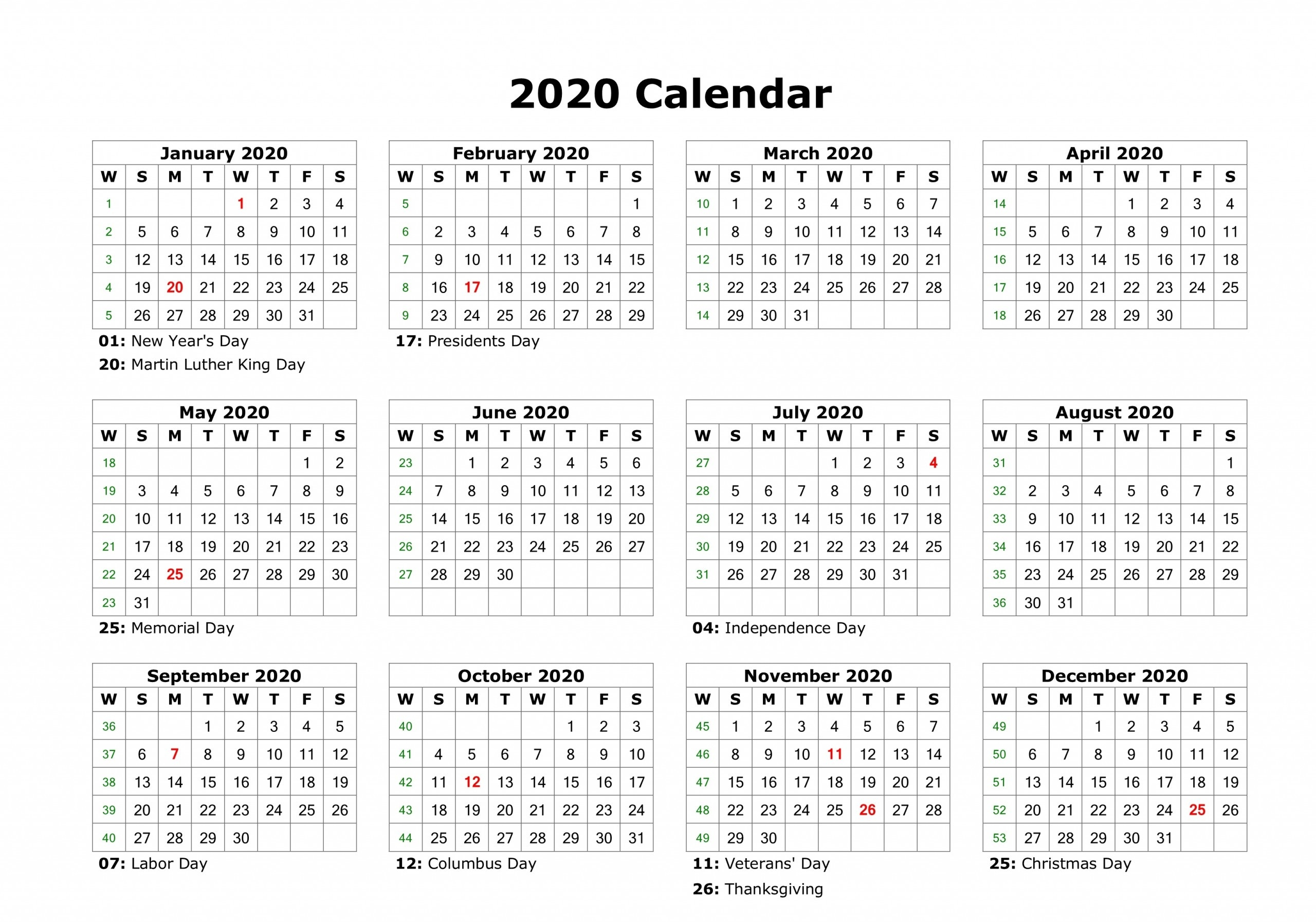 Free Yearly 12 Month Calendar One Page Template Printable  Calendar 2020 Printable One Page