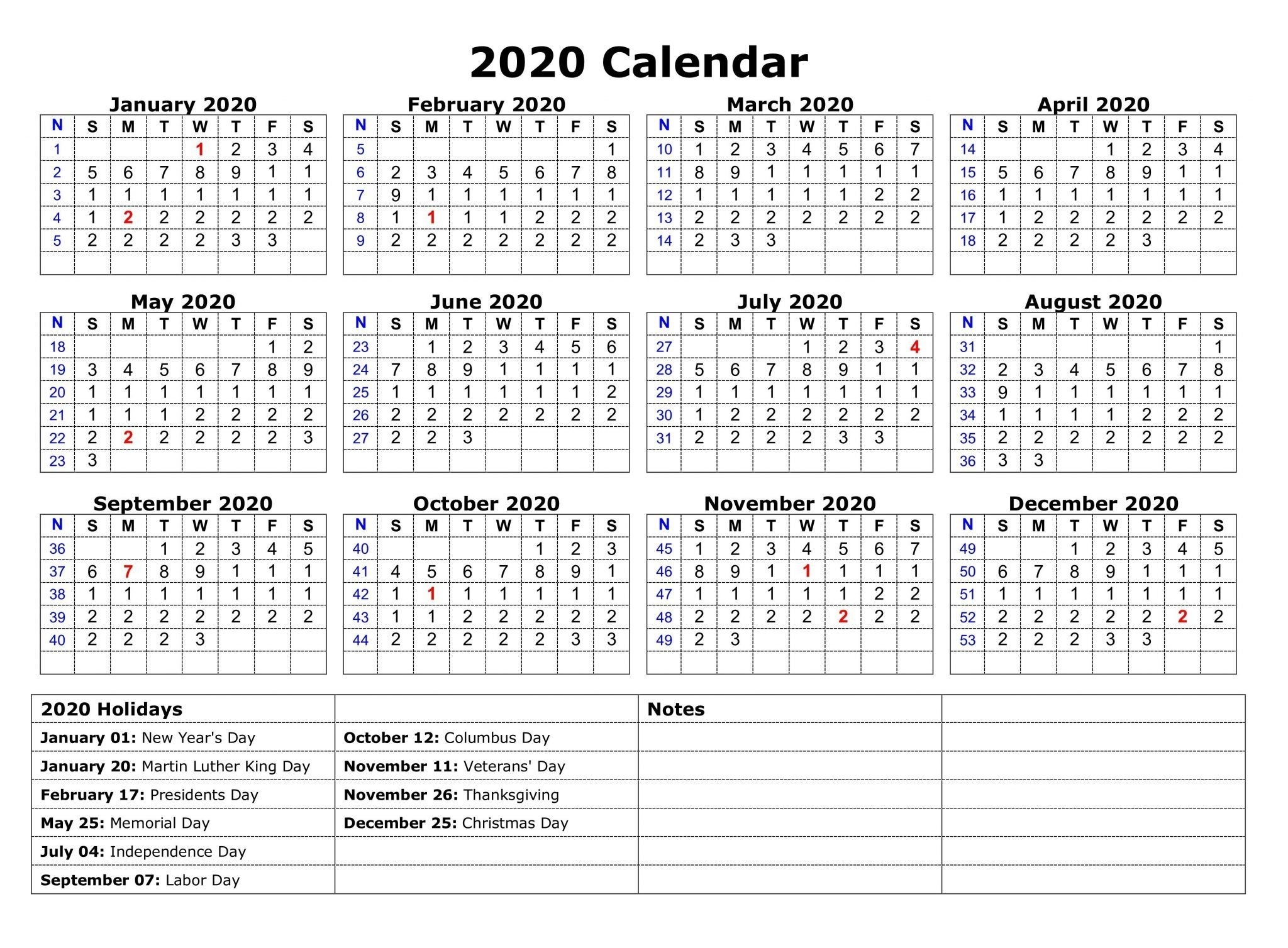 Free Yearly Printable Calendar 2020 With Holidays | Monthly  2020 Calendar With Holidays Printable One Page