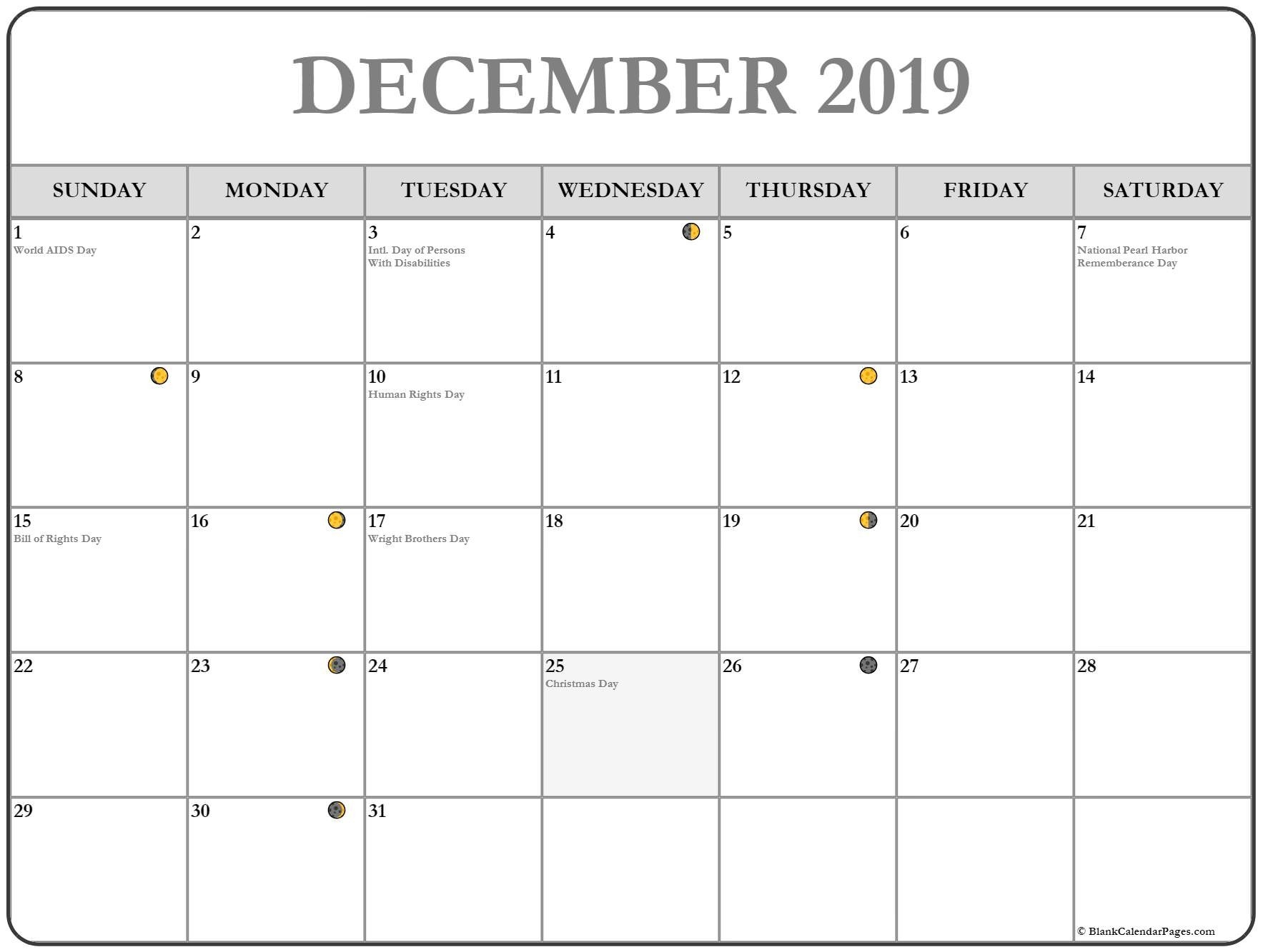 Full Moon Phases For December 2019 Month With Lunar Calendar  Full Moon Calender