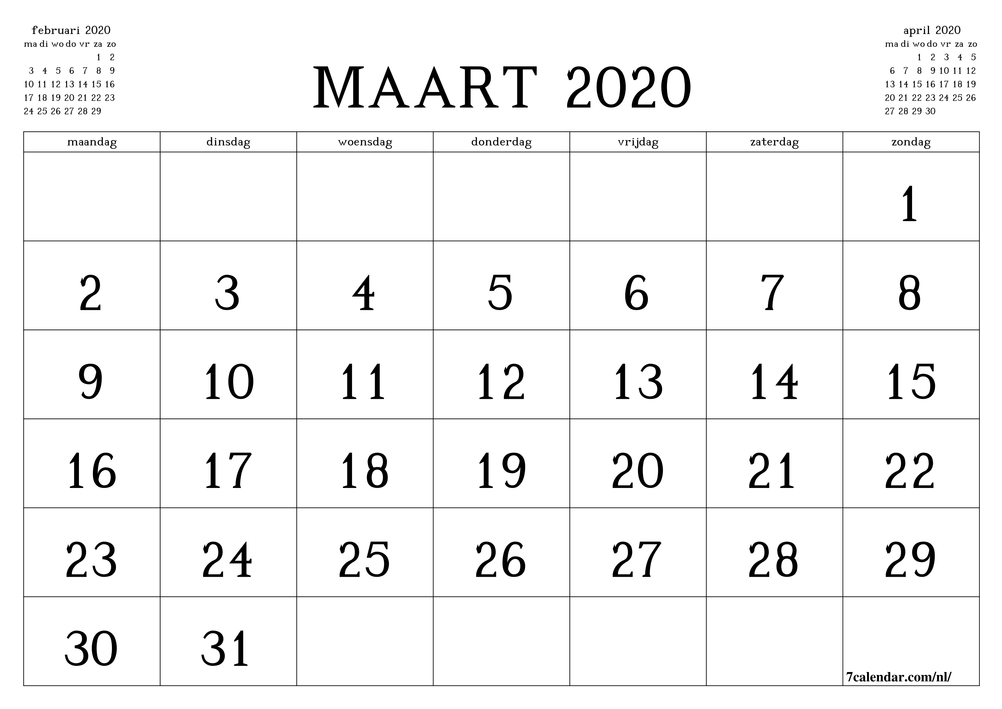 Gratis Afdrukbare Lege Maandelijkse Kalender En Planner Voor  Kalender Maart 2020