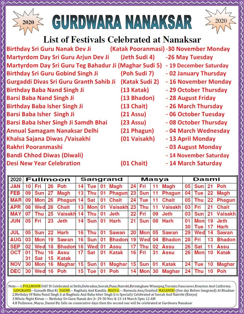Gurdwara Nanaksar - Monthly Events And Activities  February Calendar 2020 Punjabi