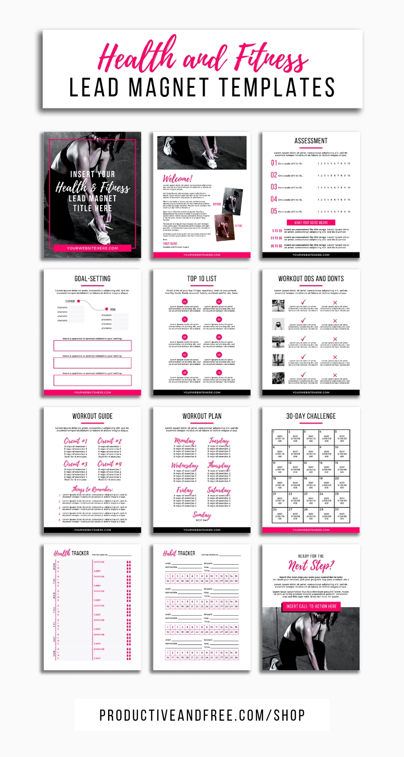 Health And Fitness Lead Magnet Template | Lead Magnet  Fitness Challenge Templates
