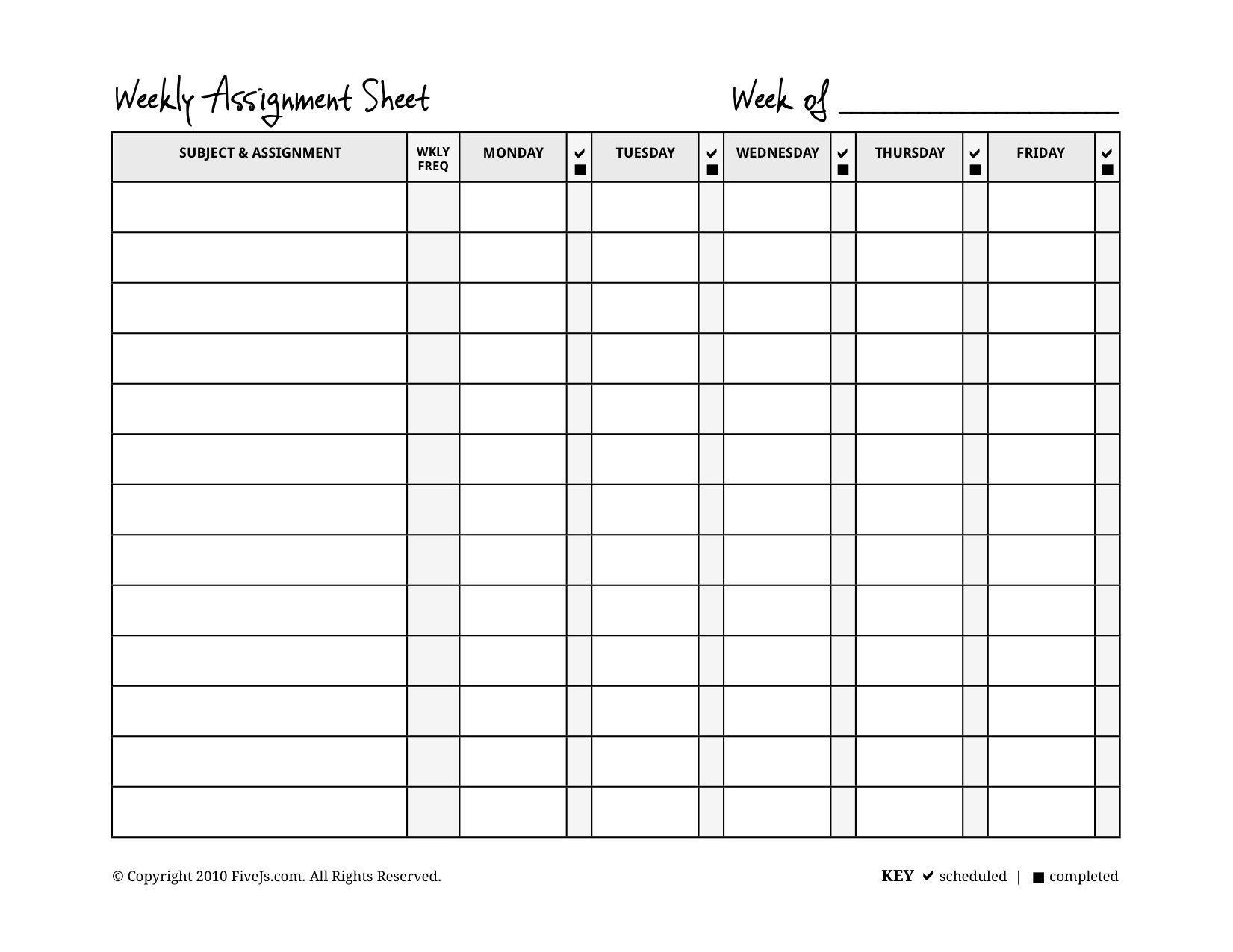 Homeschool Weekly Assignment Planner | Assignment Planner  Weekly Assignment Log