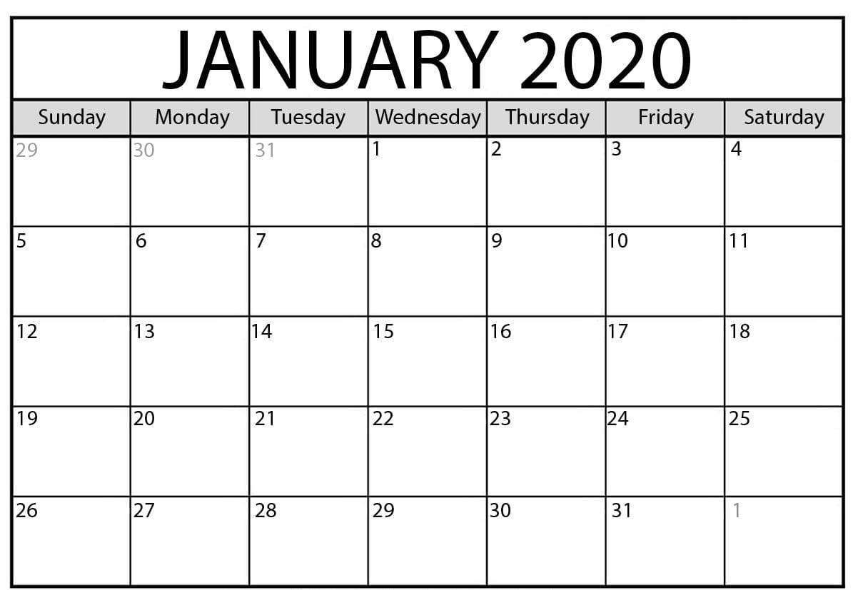Images For Free Printable January 2020 Calendar | 12 Month  2020 Free 12 Month Printable Monthly Calendar