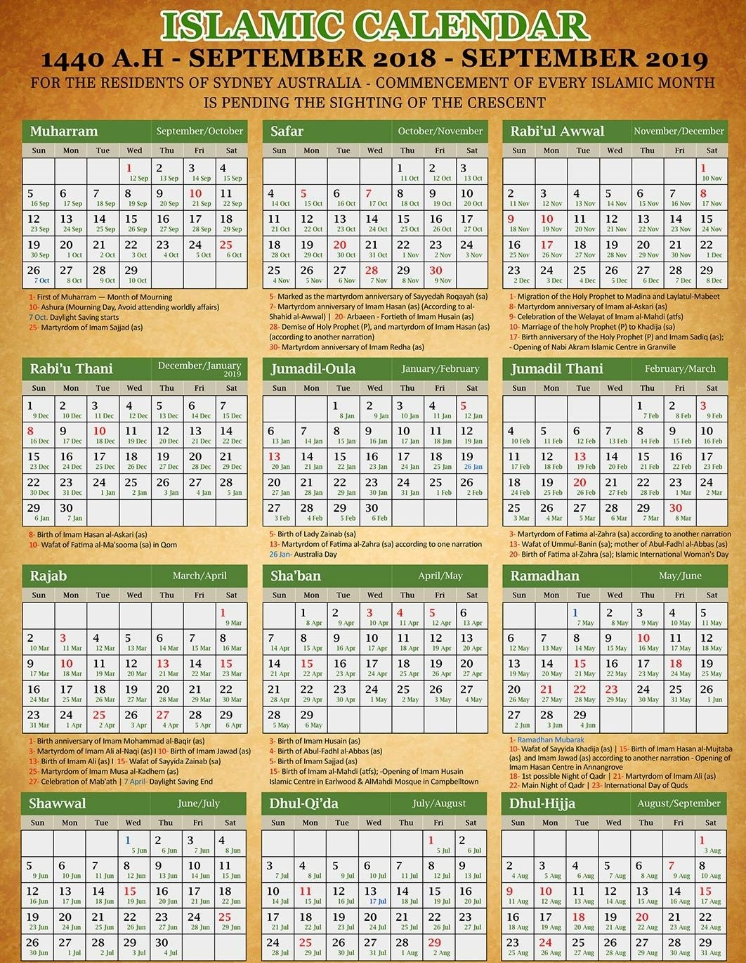 Islamic Calendar 2019/20 - Hijri Calendar 1441 [Pdf Download]  Shia Islamic Calendar