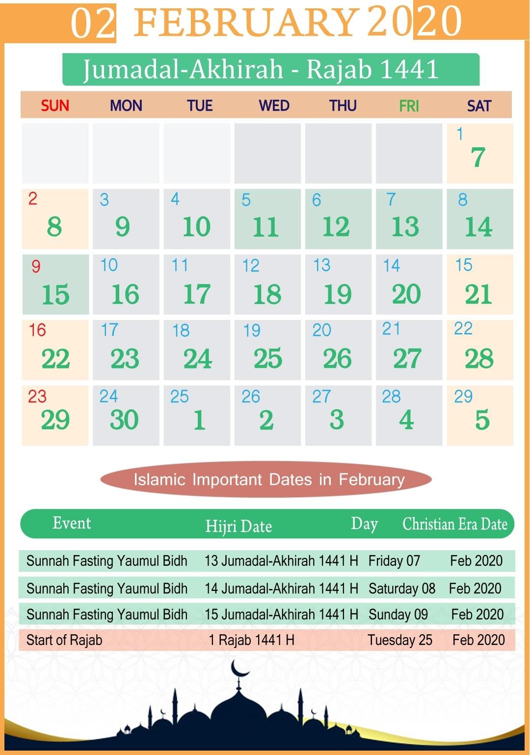 Islamic Calendar February 2020 | Year  February Calendar 2020 Punjabi