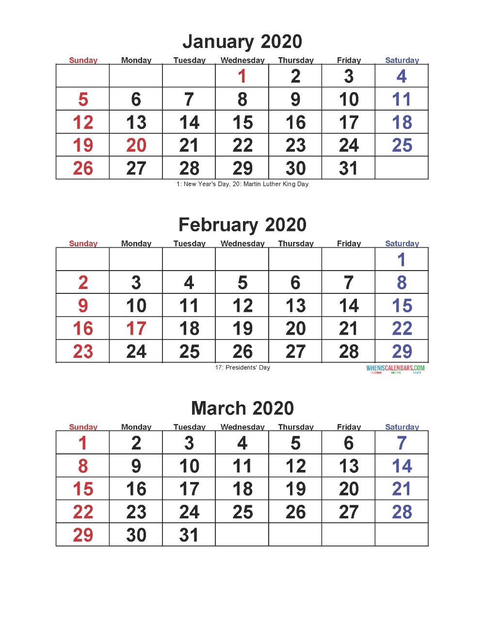 Jan Feb Mar 2020 Calendar 3 Months Per Page – Free Printable  Free Printable 3 Month Calendar Template