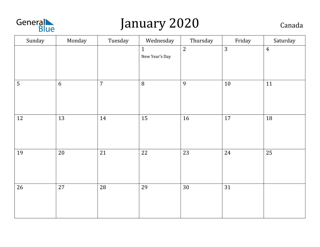January 2020 Calendar - Canada  Monthly Calendar 2020