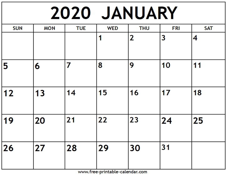 January 2020 Calendar - Free-Printable-Calendar  2020 Printable Calendar Free Full Page