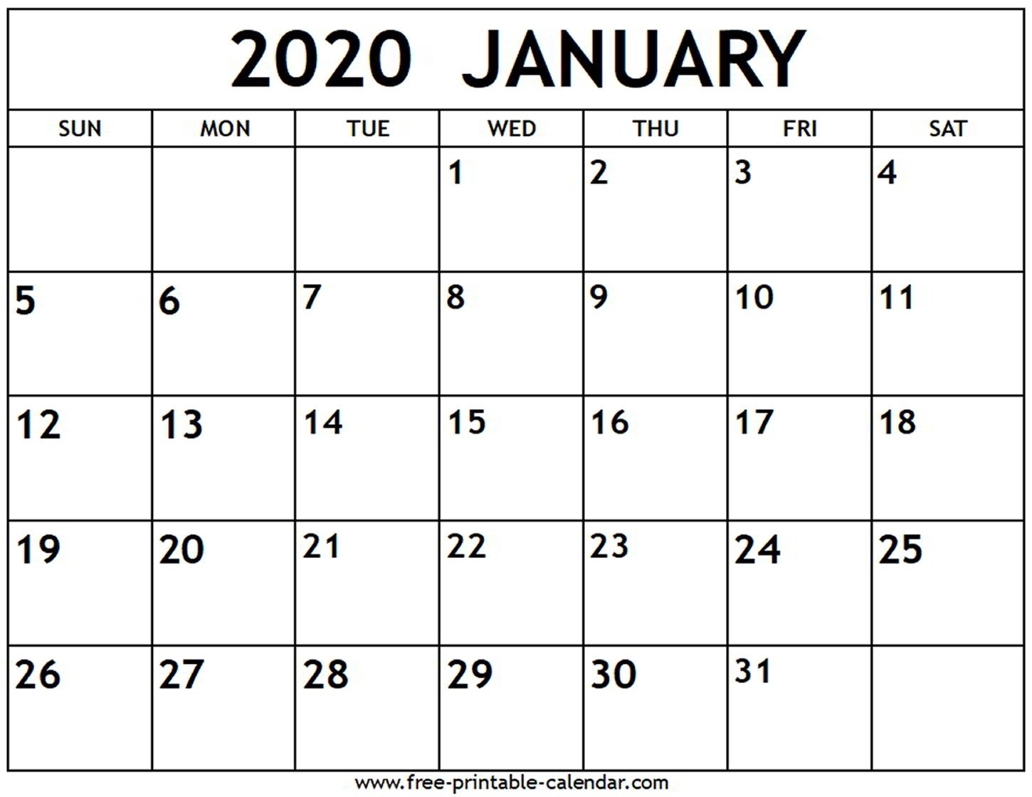 January 2020 Calendar - Free-Printable-Calendar  Calendar Print Off