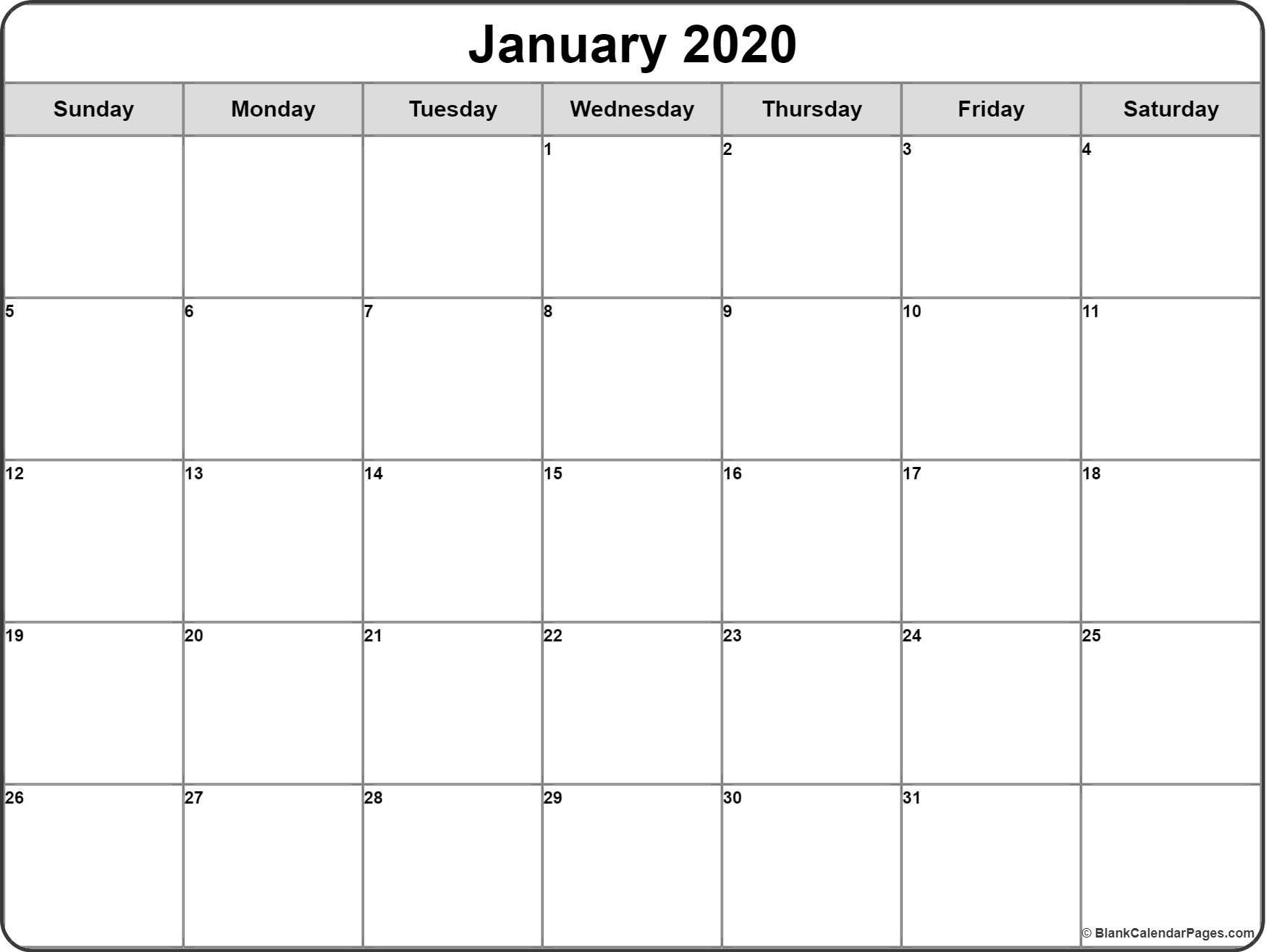 January 2020 Calendar | Free Printable Monthly Calendars  Blank Monthly Calendar Printable
