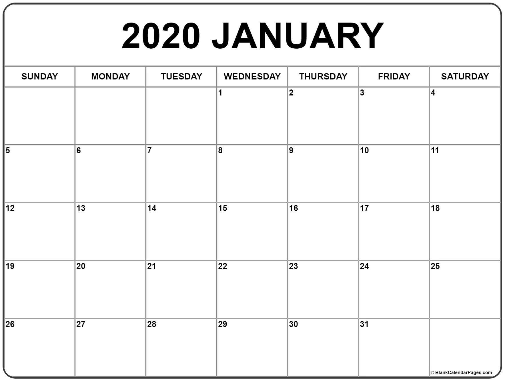 January 2020 Calendar | Free Printable Monthly Calendars  Calendar Template 2020 Printable Free