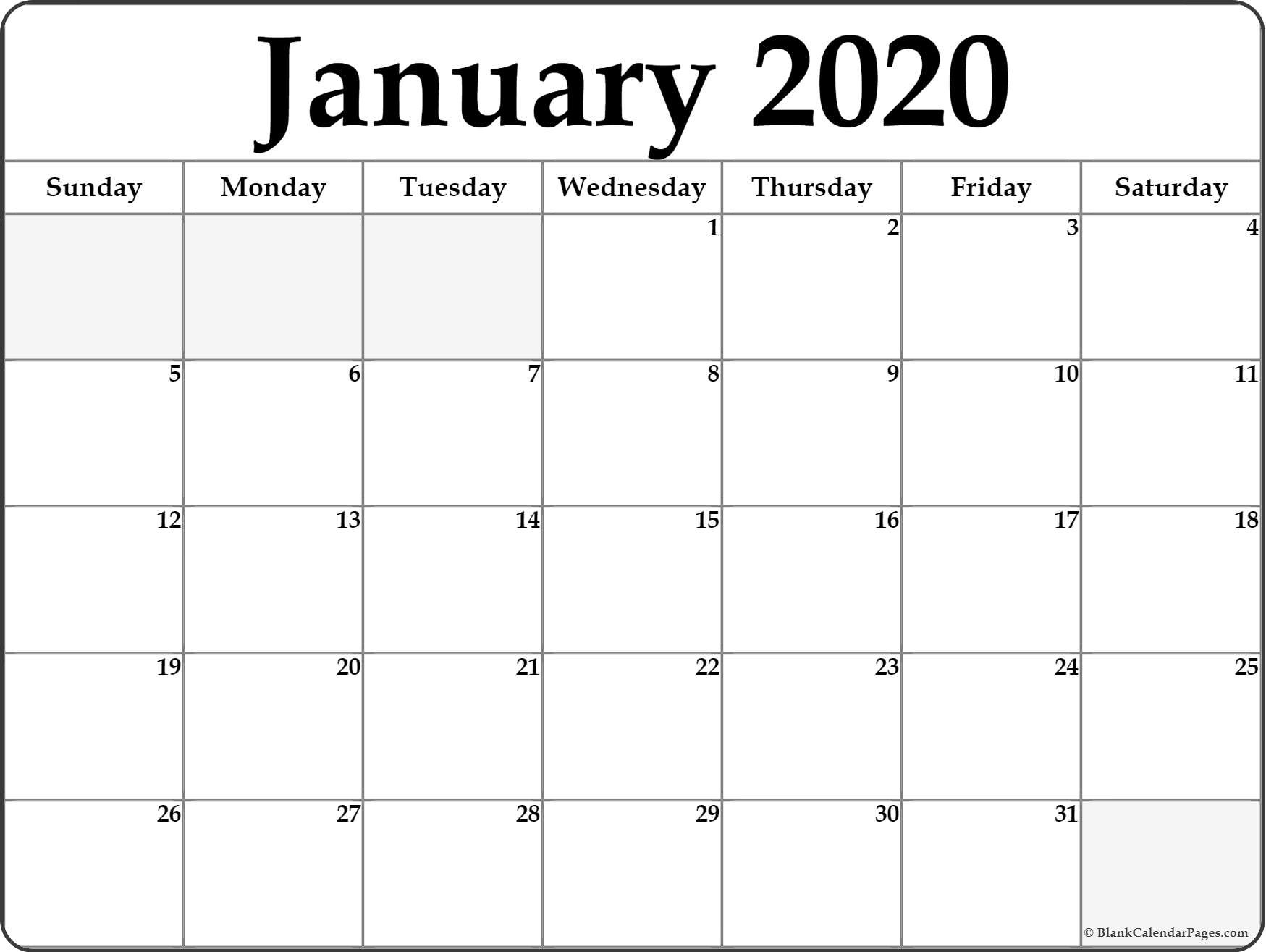 January 2020 Calendar | Free Printable Monthly Calendars  Download 2020 Blank Calendar Printable