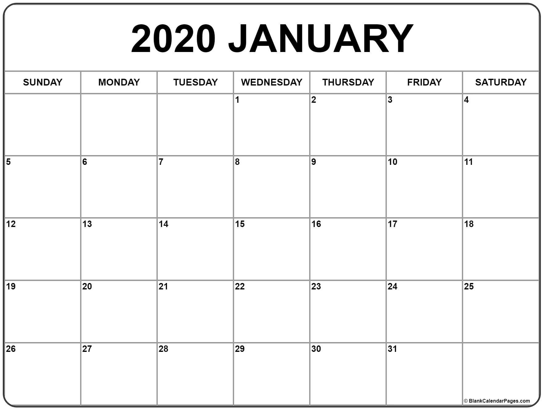 January 2020 Calendar | Free Printable Monthly Calendars  February Blank Calendar Printable
