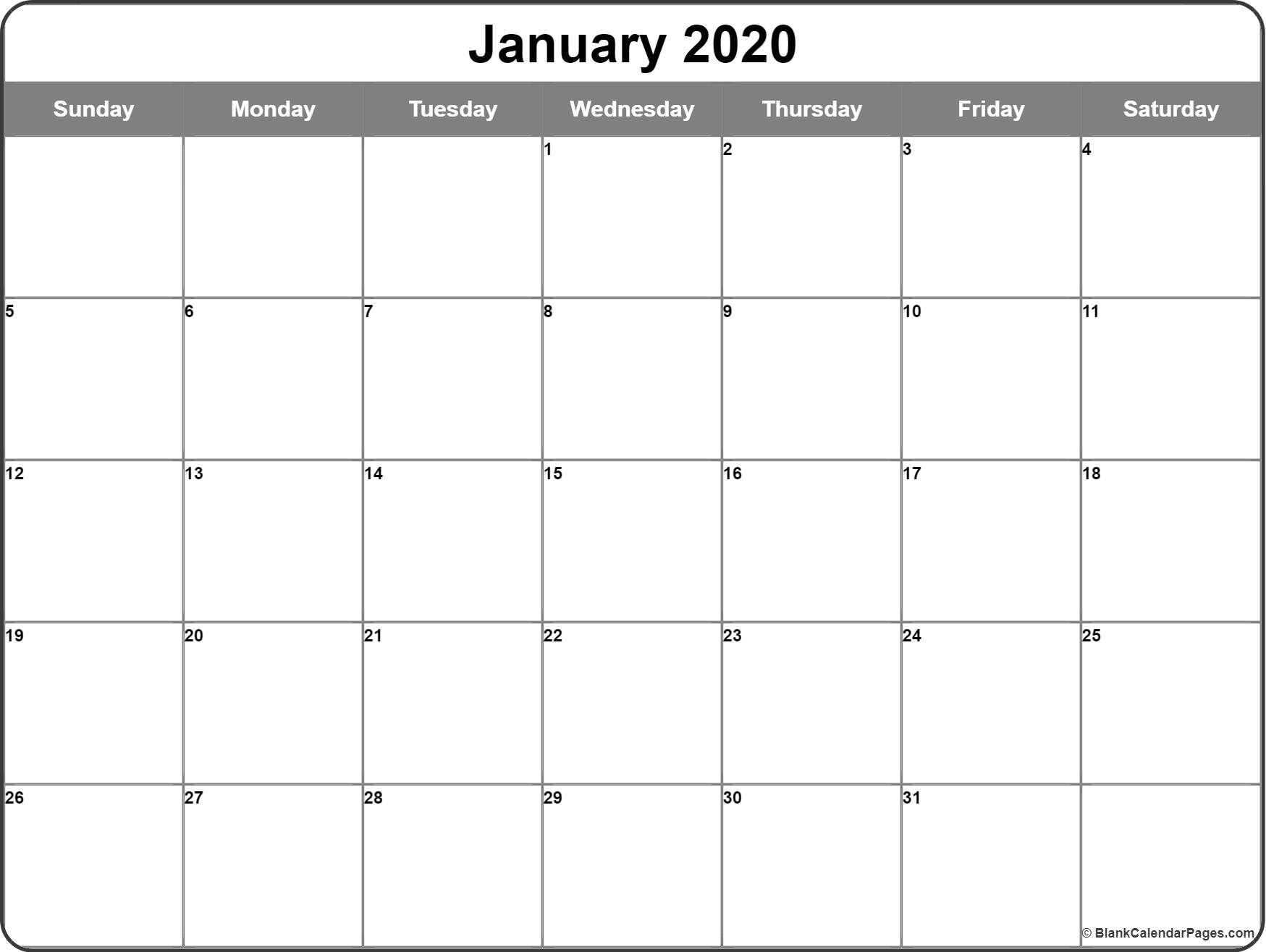 January 2020 Calendar | Free Printable Monthly Calendars  Free Monthly Calendar Print Out 2020 With Holidays