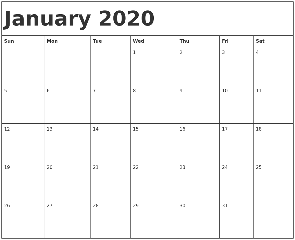 January 2020 Calendar Template  2020 Calendar Template